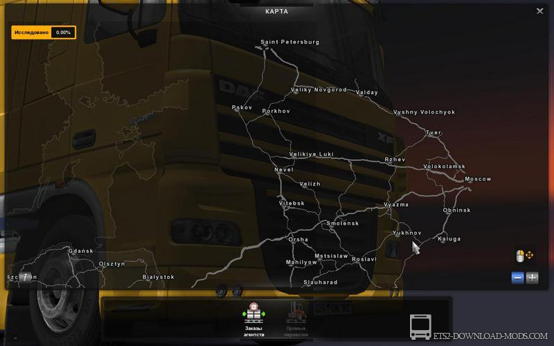 скачать мод на евро трек симулятор 2 на рус мап