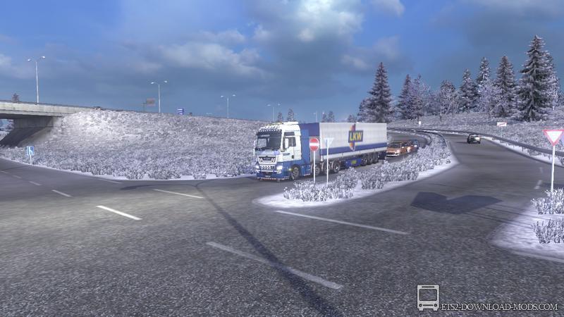 Мод Зима для Euro Truck Simulator 2
