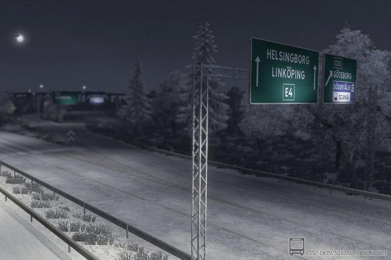 Мод Зима для Euro Truck Simulator 2 - Winter is coming v.4
