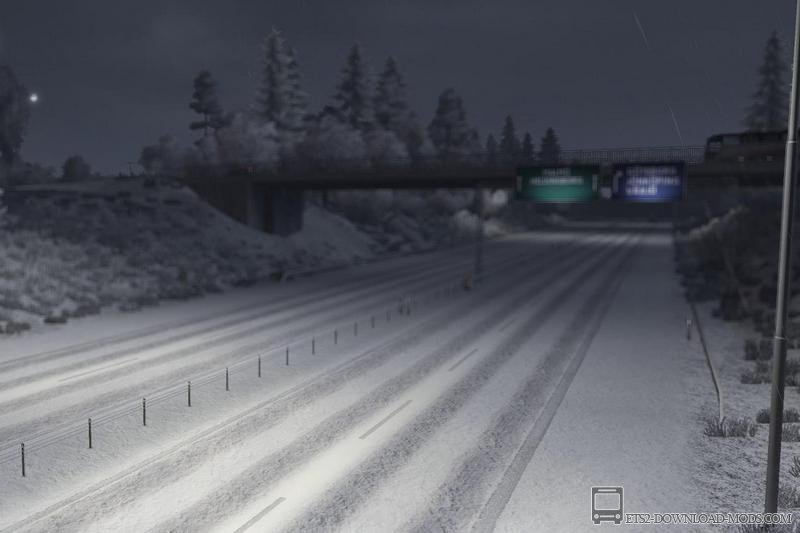 Мод Зима для Euro Truck Simulator 2 - Winter is coming v.3 (ранняя зима для ETS 2)